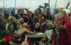 The Reply of the Zaporozhian Cossacks to Sultan Mahmoud IV, 1896 by Ilya Repin. Realism. history painting