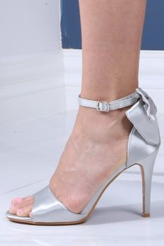 Grey Satin Bow Sandals Our grey satin bow sandals feature: Ankle-strap fastening Bow detail Open toe High heel Heel height: These grey satin bow sandals will elevate any look Fashion Shoes, Fashion Accessories, Open Toe High Heels, Bow Sandals, Wedge Boots, Ankle Strap, Kitten Heels, Women Wear, Pumps