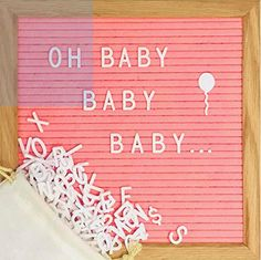 Pink Felt Letter Board Set with 10 x 10 inch Oak Frame, 374 Precut Letters and Emojis, Cursive Words, Wall Hook - Perfect Message Sign for Girl Baby Shower Decorations Felt Letter Board, Felt Letters, Fiesta Baby Shower, Baby Shower Gifts, Shabby Chic Decor, Vintage Decor, Cursive Words, Baby Congratulations Card, Special Letters