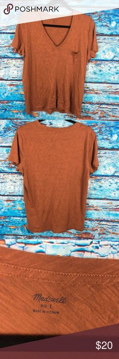 Madewell Burnt Orange V Neck Layering Tee T Shirt Gently used no flaws. Measures armpit to armpit 20 1/2 inches. Total length 25 inches. Madewell Tops Tees - Short Sleeve