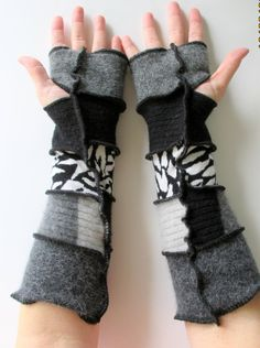 Recycled Sweater Fingerless Gloves Arm Warmers by ThankfulRose