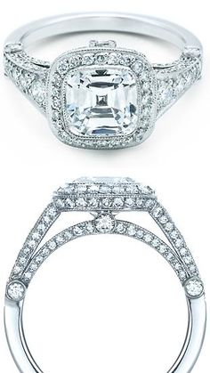 Tiffany and Co Legacy cushion-cut diamond engagement ring with graduated side stones.