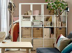 Opbergkast/room divider wit, 4 x 4 vlakken, KALLAX