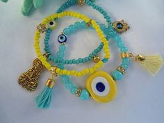 SALE AMULET BRACELET Evil Eye Bracelet Middle Eastern by Nezihe1, $25.00