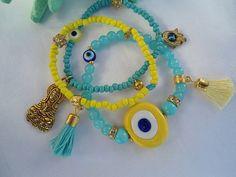 SALE AMULET BRACELET Evil Eye Bracelet Middle Eastern by Nezihe1, $25.00