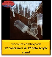 Push Pop Containers - 12 Count Combo Pack with Clear acrylic Stand, $32.99 (http://shop.pushpopcontainers.com/12-count-combo-pack-with-clear-acrylic-stand/)
