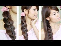 Unique 4 Strand Braid (Braid in Braid) Hairstyles for Medium Long Hair Tutorial