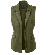 LE3NO Womens Zip Up Drawstring Waist Military Anorak Vest with Pockets ($23) ❤ liked on Polyvore featuring outerwear, vests, military anorak jacket, green anorak jacket, green vest, slim vest and military vest