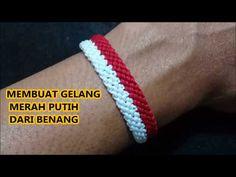 Membuat Gelang Merah Putih Dari Benang Hanya Dgn 1 langkah // Macrame Bracelet// Atribut Suporter - YouTube