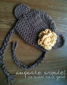 http://www.facebook.com/cupcakecrochet    Monkey hat with optional rose starting at $15, can be made in any color or size.      Like us on Facebook, for a weekly chance to win a free custom crochet hat!     crochet crochet pattern handmade etsy facebook free giveaway contest newborn baby photography prop