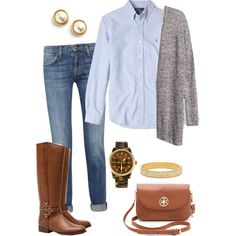"""""""Fall is upon us"""" by pinkprep37 on Polyvore Denim, Chambray, gray tweed vest,"""