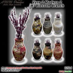 *AMM Design Furniture Japanese Vase 2 Modern 2 with Blossom Branch
