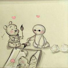 Art Auctions for Drawings – Viral Gossip Sweet Drawings, Cute Disney Drawings, Cool Art Drawings, Art Drawings Sketches, Easy Drawings, Arte Disney, Disney Art, Baymax, Pinturas Disney