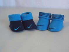 Nike Newborn Infant Booties 0-6 Months Blue Black Stripe Embroidered Logo #Nike #Booties