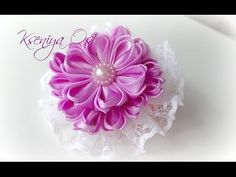 "цветок канзаши ""Сиреневая нежность"" своими руками - YouTube"