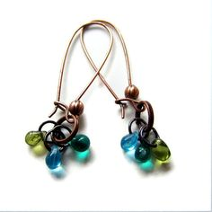 Cluster Dangle Earrings in Blue and Green Glass on Copper Wire Boho Chic Jewelry by initialcolor, $22.00