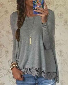 Stylish Lace Spliced Hem Long Sleeve Gray T-Shirt For Women