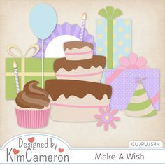 Make A Wish - Birthday Celebration Cake and Gifts - Layered PSD Templates with PNG by Kim Cameron for Digital Scrapbooking #CUDigitals