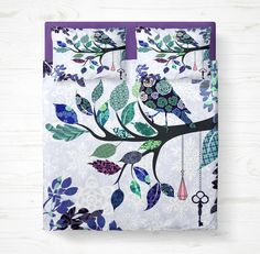 Bedding ,Bird Branch Tree Lavender Purple Country Chic,   Comforter Duvet  COVER Pillow Shams , Twin, Queen King