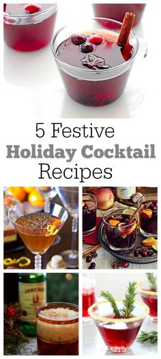 Check out these 5 totally festive Holiday Cocktail recipes for Christmas or New Year's Eve.