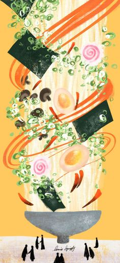 Created by Lorrie Squiggly, 2016 Strangely delicious ramen. Created by Lorrie Squiggly, 2016 Art And Illustration, Food Illustrations, Kawaii Wallpaper, Cute Wallpaper Backgrounds, Cute Wallpapers, Japanese Art, Japanese Takeaway, Cuisines Design, Copics
