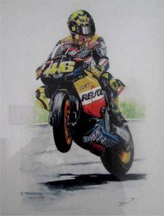 Valentino Rossi. Watercolour. http://www.thegalleryofspeed.com/ #motorsport #f1 #automotive #formula #one #race #car #lemans #btcc #le #mans #auto #art #mcqueen #steve #bullitt #mustang