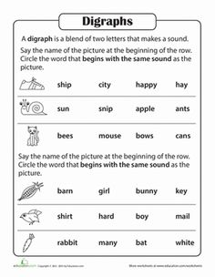 First Grade Phonics Worksheets: Phonics Practice Test: Blends and Digraphs