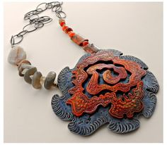 Yay, The new Polymer Arts Summer 2015 issue has been released! The issue is themed on Connections. Scroll down to come take a look! In the meantime, here's a lovely necklace focal by Christine Damm. I'm loving her use of texture, rough forms, color and scale! See more of her pieces and the new issue at The Polymer Arts magazine blog, http://www.thepolymerarts.com/blog/10575