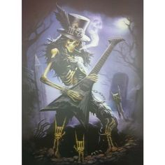 Skull Music Guitarist 3D Lenticular Picture Poster Painting Wall Decor Photo Img #Unbranded #SkullPrint