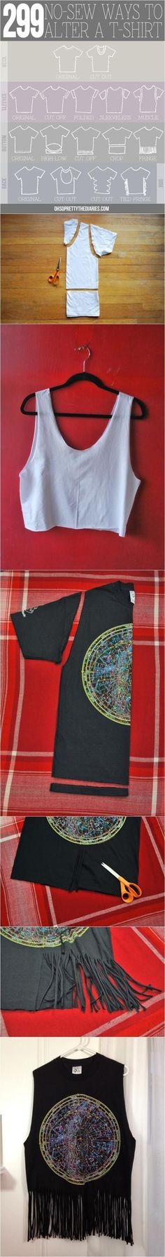 Hey Wanderer: 299 no-sew ways to alter a t-shirt | DIY Fun Tips More