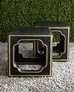 """<ul> <li>Accent table made of agglomerated stone.</li> <li>Hand-painted finish.</li> <li>Outdoor safe.</li> <li>Sold individually; each, 19""""Sq. x 19""""T.</li> <li>Imported.</li> </ul>"""