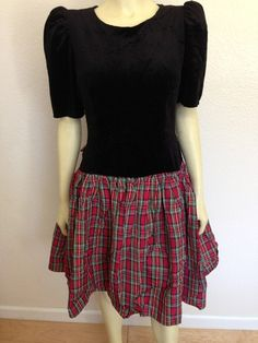 Vintage Breakin Loose black Velvet W/ Plaid Cocktail Party dress Bow 7/8 holiday