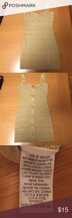 Hot Miami Styles Sparkling Gold Bandage Dress Mini dress with zip closure. Barely worn. Hot Miami Styles Dresses Mini