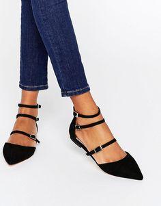 Image 1 ofFaith Triple Strap Flat Shoes
