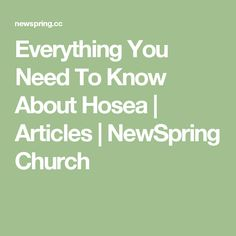 Everything You Need To Know About Hosea   Articles   NewSpring Church