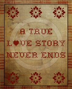 Primitive True Love Story Valentine Cross Stitch Sampler Printable Digital Art JPEG Instan... $3