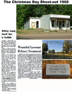 2010 Sheriff Buford Pusser & Russ Hamilton Christmas Day Shoot -out 1968 in City of Selmer, McNairy County Tennessee Hamilton shooting news report Dixie Mafia, Hamilton, Joe Don Baker, Walking Tall, True Crime, Sheriff, Great Movies, Old Photos, True Stories