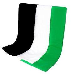 100% Cotton Muslin Backdrop Three Pack 6'x9' (Black, White, & Green)