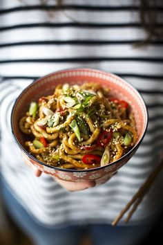 Hot & Spicy Peanut Butter Noodles...Thick udon noodles coated in a delicious nutty sauce. | DonalSkehan.com