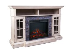 Bennett Infrared Electric Fireplace TV Stand in Farmhouse Ivory - ASMM-017-2866-S404-T