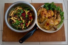 Roasted chicken with caramelized onion, sundried tomato and caper pasta salad.