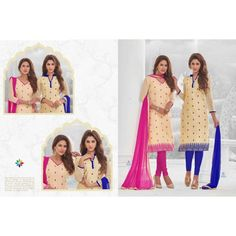 Buy Online Churidar Suit or shuits Cream & Blue Cotton, top banarasi material,bottom cotton, dress material, Chiffon dupattas , office wearing, partywear, kitty party wear for women,Churidar suit, shuits for women.. We have large range of churidar suits in our website with the best pricing and unique designs shipping to (UK, USA, India, Germany, UAE, Canada, Singapore, Australia, Mauritius, New Zealand) world wide.