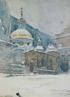 """Leon Wyczółkowski """"Katedra na Wawelu z kaplicą Zygmuntowską"""", 1915, akwarela, ołówek, kredka, 51 x 37 cm, własność prywatna"""