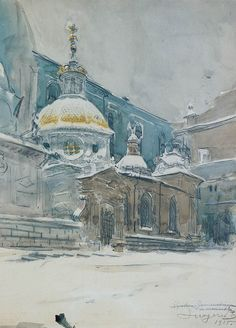 Leon Wyczółkowski - Sigismund Chappel 1915 Acrylic Painting Inspiration, Krakow, Beautiful Paintings, Impressionism, Poland, Paint Colors, Art Drawings, Architectural Drawings, Colours