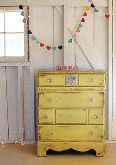 Painted furniture from 508 Restoration and Design and like the use of paper heart garland and lights