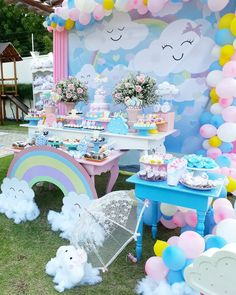 No photo description available. Baby Girl Birthday Decorations, Rainbow Party Decorations, Baby Girl 1st Birthday, Unicorn Birthday Parties, First Birthday Parties, First Birthdays, Rain Baby Showers, Cloud Party, Sunshine Birthday