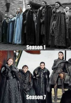 """Game of Thrones cast season 1 & 7 Starks. ""Game of Thrones cast season 1 & 7 Starks. Game Of Thrones Gift, Arte Game Of Thrones, Game Of Thrones Meme, Game Of Thrones Books, Game Of Thrones Characters, Game Of Throne Poster, Game Of Throne Actors, The North Remembers, Jon Snow"