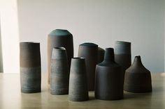 Moody landscape vessels by Melbourne ceramicist Tara Shackell. Please email us for purchase, will be on web shop soon as well.