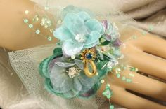 PROM WEDDING Corsage Flowers Wristlet by RITZYGLITZYJEWELRY, $46.00