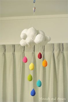 Baby Crib Mobile - Nursery Mobile - Mobile - Crochet Mobile -  Cloud mobile with rainbow raindrop. Gives me lots of ideas!